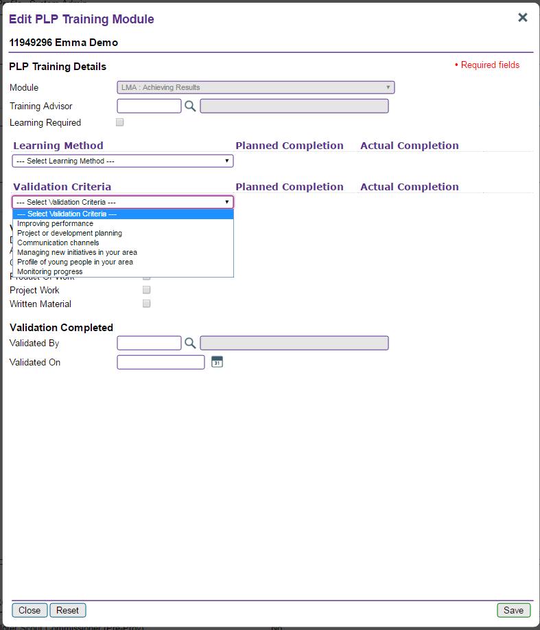 validation criteria